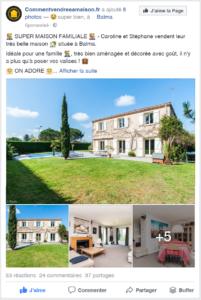 Annonce immobilière Facebook